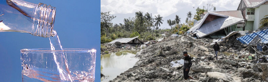 bottle pouring left and village destroyed by tsunami right